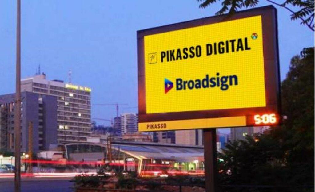 écran digital Pikasso avec logo Broadsign