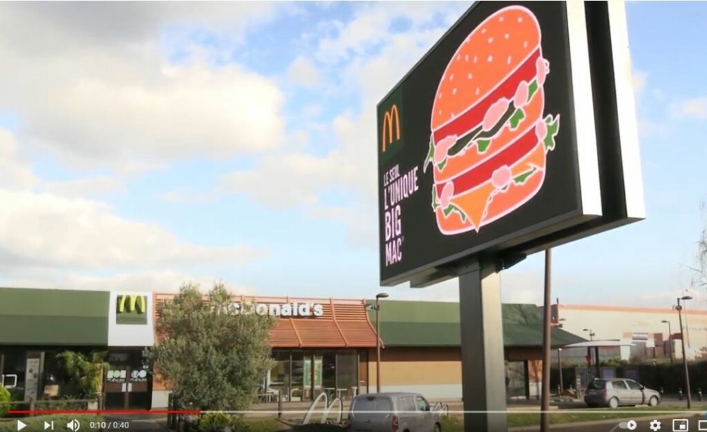 écran led Outdoor KP Mediacom pour Mc Donald's Monthery